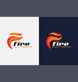 abstract initial letter f logo with fire flame