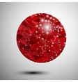 Abstract shiny red polygonal sphere vector image vector image