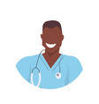 african male doctor with stethoscope face avatar vector image vector image