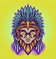 aztec indian american warrior vector image