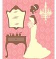 Beautiful bride in dressing room vector image vector image