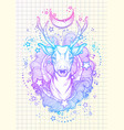 beautiful hand-drawn tribal style deer in neon vector image