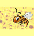 Cartoon bee flying over a field of flowers vector image