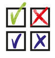 check and cross icon checkmark yes or cross vector image