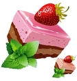 Chocolate strawberry sponge cake with mint vector image