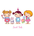 cute cartoon girls set v vector image