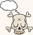 cute skull with golden tooth and thought bubble vector image vector image