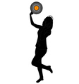dancing girl with vinyl vector image vector image