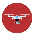 Digital white drone with recording camera vector image vector image