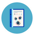 document file with report diagrams icon on blue vector image
