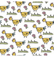 doodle seamless pattern with chicken vector image vector image
