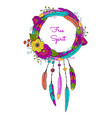 dream catcher with feathers and flowers vector image