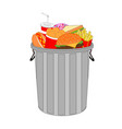 dustbin is full with tasty fast food menu vector image