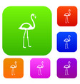 flamingo set color collection vector image vector image