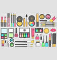 flat cosmetics set beauty fashion products vector image