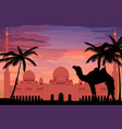 flat style sheikh zayed grand mosque in sunset vector image vector image