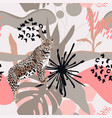 floral background with leopard animal vector image vector image