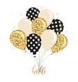 glossy balloons bunch gold glitter polka dots vector image