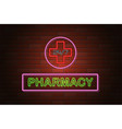 glowing neon signboard pharmacy on brick wall vector image
