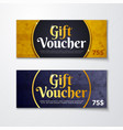 gold gift voucher with diamond premium pattern vector image