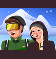 guy and girl on snowy mountains snowflakes vector image