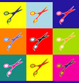 hair cutting scissors sign pop-art style vector image vector image