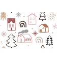 hand drawn christmas and new year doodles vector image vector image