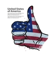 hand gesture thumb up flag of the USA vector image vector image
