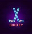 hockey neon label vector image vector image