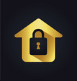home lock secure icon gold logo vector image vector image