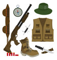 hunter set in flat style camouflage hat gun with vector image vector image
