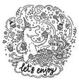 lets enjoy unicorn vector image