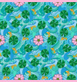 lotus and fishes seamless pattern vector image vector image