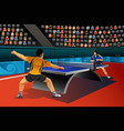 men playing table tennis in the competition vector image vector image