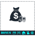 Money icon flat vector image vector image