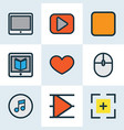 multimedia icons colored line set with full screen vector image