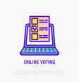 online voting thin line icon vector image