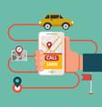 process booking taxi via mobile app calling vector image