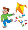 running boy with kite vector image