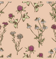 seamless background of the meadow flowers vector image vector image