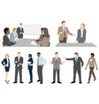 set business people in action silhouettes vector image vector image
