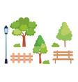 set icons park scene vector image