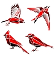 Set of four red triangle formed birds vector image