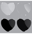 Set of realistic glass hearts vector image vector image