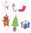 set of stuff on christmas holiday vector image vector image