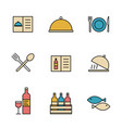 set simple colored restaurant utensils icon in vector image