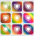 shield icon Nine buttons with bright gradients for vector image
