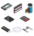 Storage media detailed isometric icon set vector image vector image