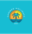 summer holidays logo with a palm tree vector image