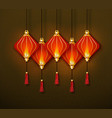 traditional chinese red lanterns banner vector image vector image